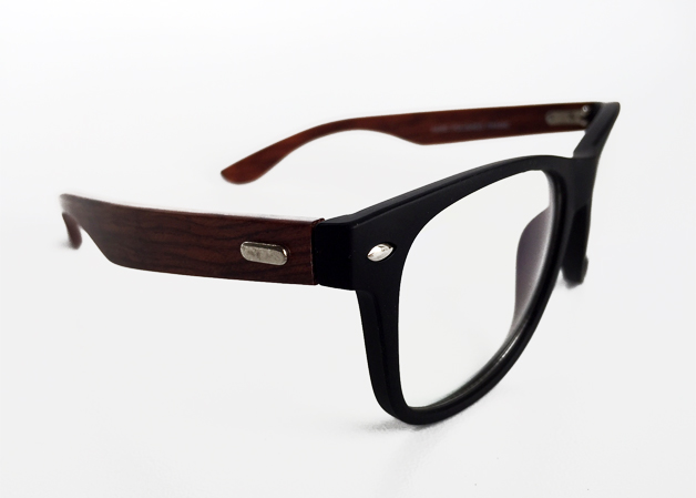 Glasses with black matte frame and bamboo arms (non-prescription) - sunlooper.co.uk - billede 2