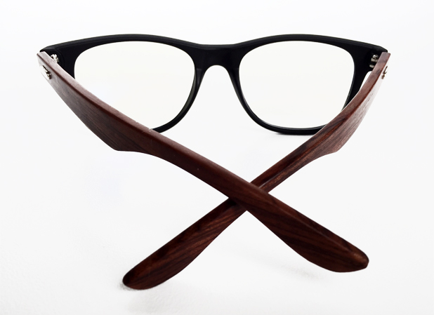 Glasses with black matte frame and bamboo arms (non-prescription) - sunlooper.co.uk - billede 3
