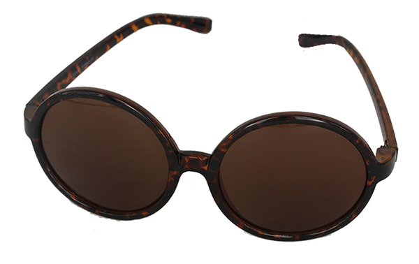 Round dark brown sunglasses in large design