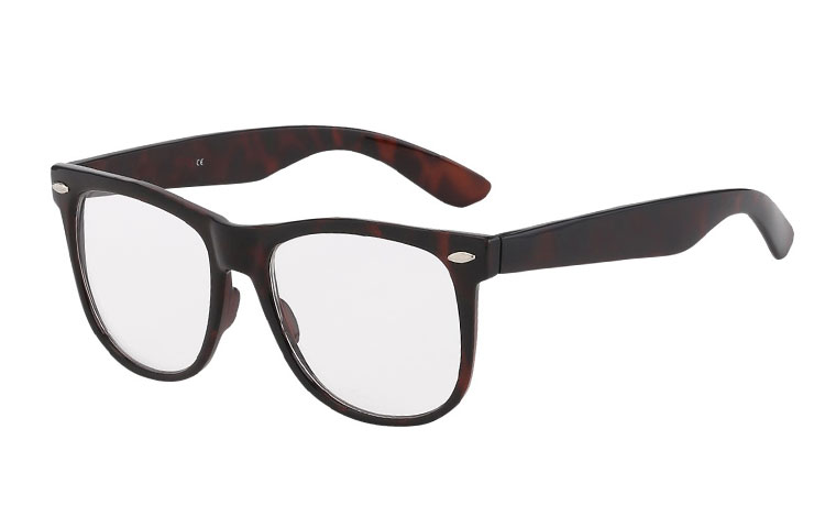 Tortoiseshell wayfarer glasses, non-prescription