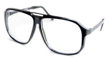 Large glasses with clear lenses in black