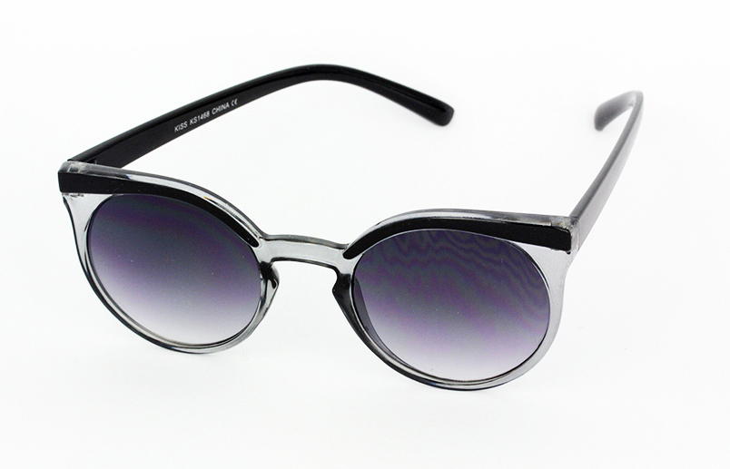 Round smokey-lensed sunglasses with black frames