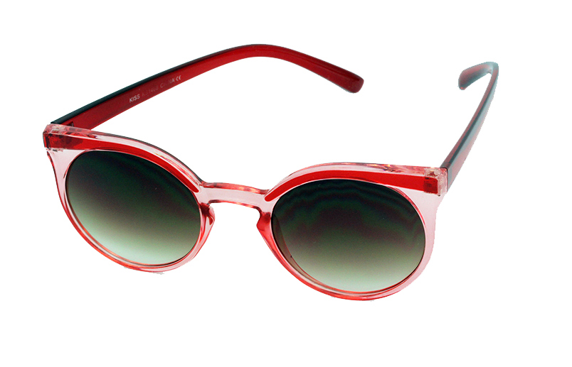 Red and transparent round sunglasses