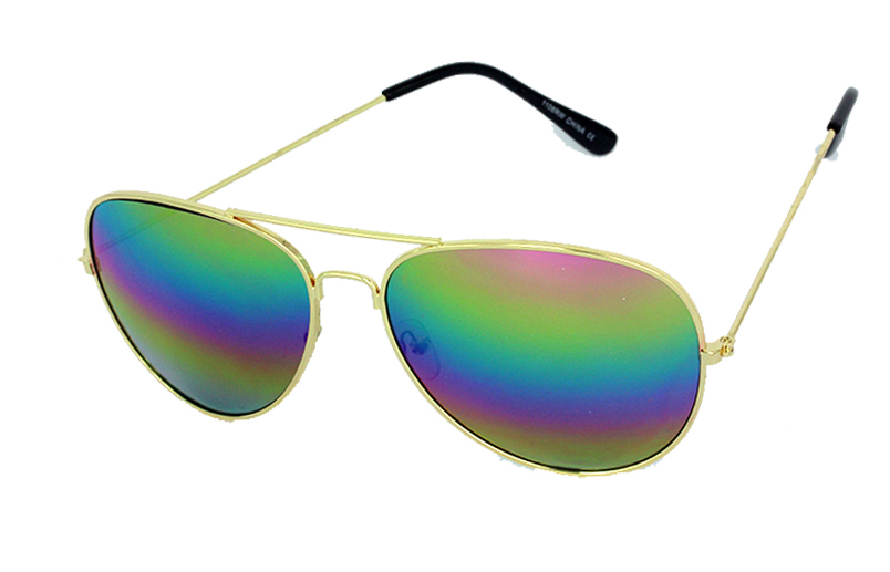 Aviators with rainbow mirrow lenses
