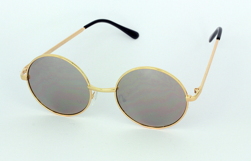 Gold Lennon sunglasses with mirror lenses