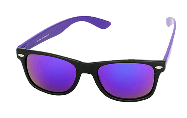 Wayfarer with purple arms and multicoloured lenses