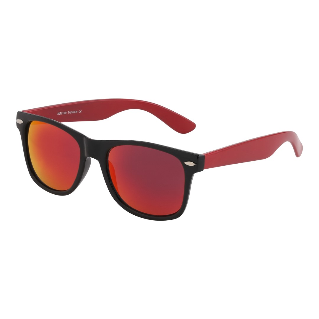 Wayfarer with red arms and multicoloured lenses