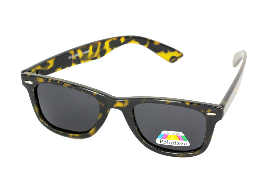 Tortoiseshell polaroid sunglasses in wayfarer design