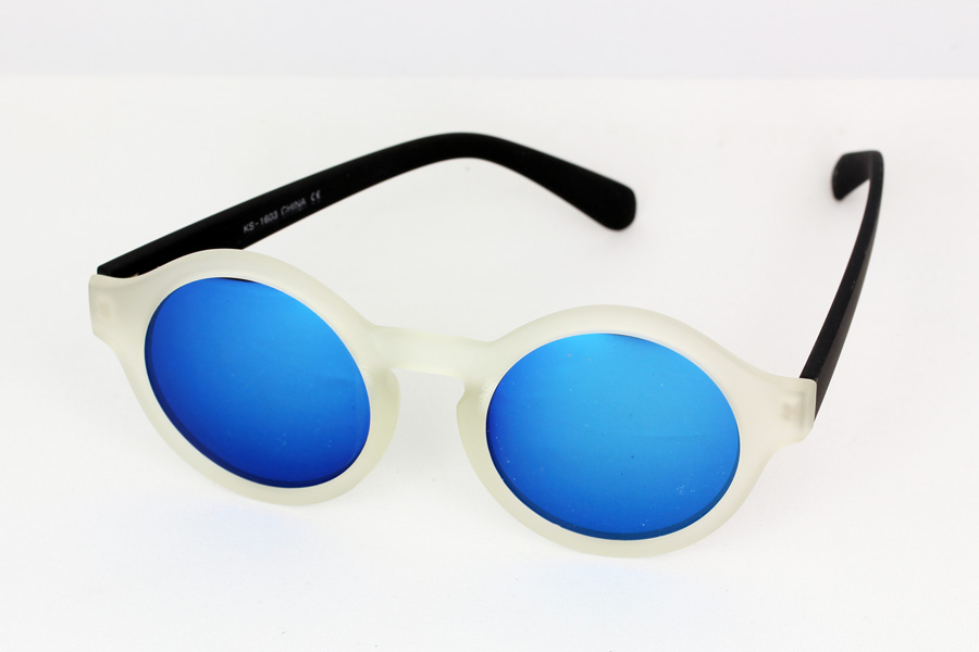 Clear matte sunglasses with blue mirror lenses