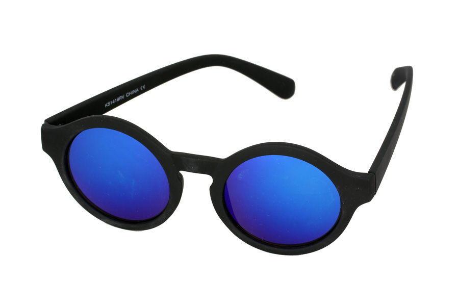 Matte black round sunglasses with blue mirror lenses