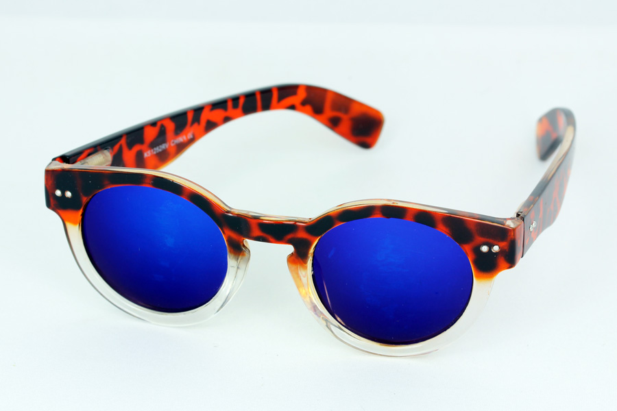 Round tortoiseshell sunglasses with blue mirror lenses