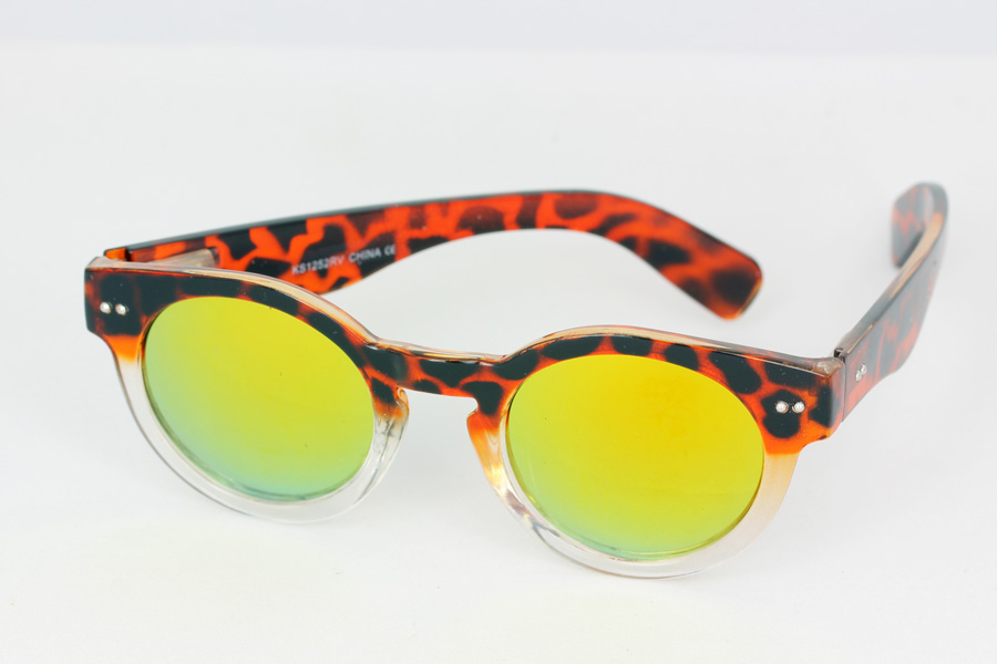 Round tortoiseshell sunglasses with yellow mirror lenses