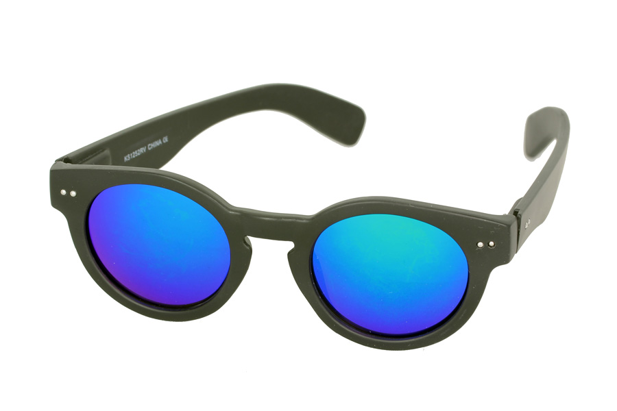 Round matte black sunglasses with blue mirror lenses