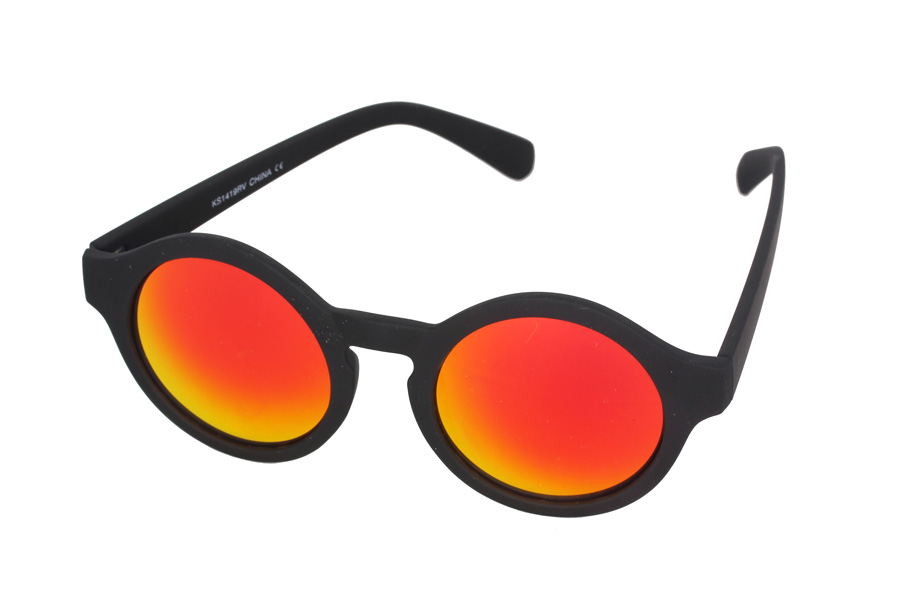 Round sunglasses in black with mirror lenses
