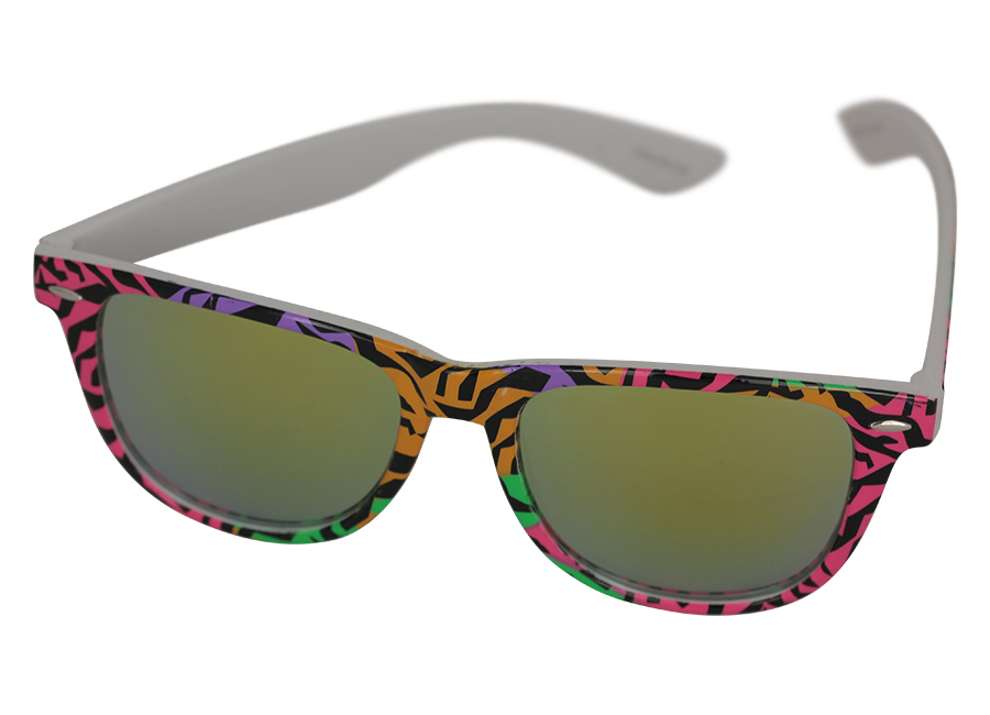 Wayfarer sunglasses in coloured animal print design