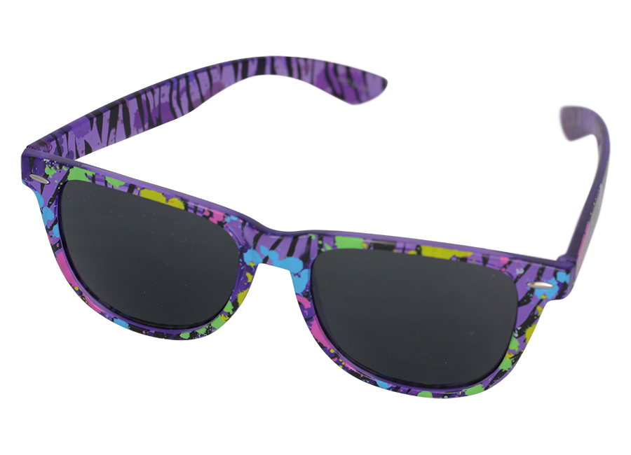 Wayfarer sunglasses in translucent purple and colours