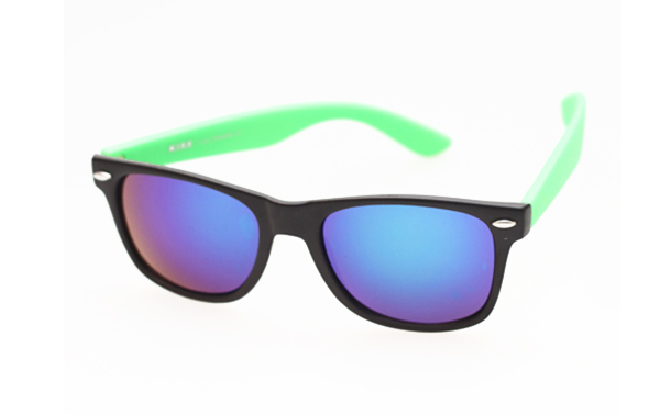 Wayfarer black with green arms and multicoloured lenses