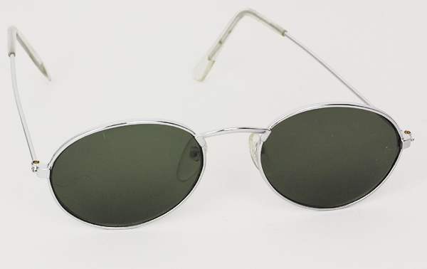 Oval unisex sunglasses in silver