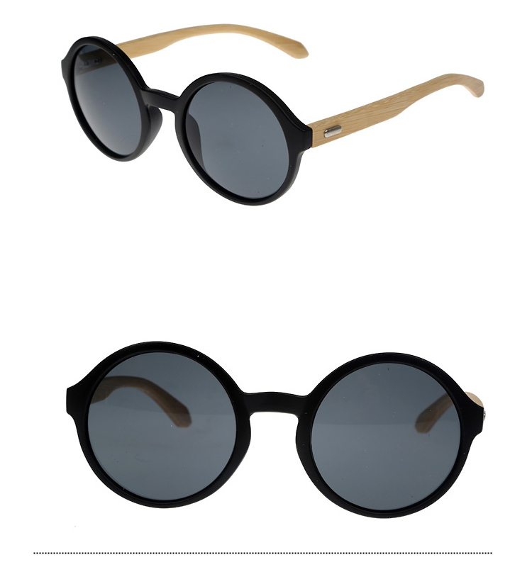 Oversize round sunglasses in black with handmade bamboo arms. Robust quality - sunlooper.co.uk - billede 3