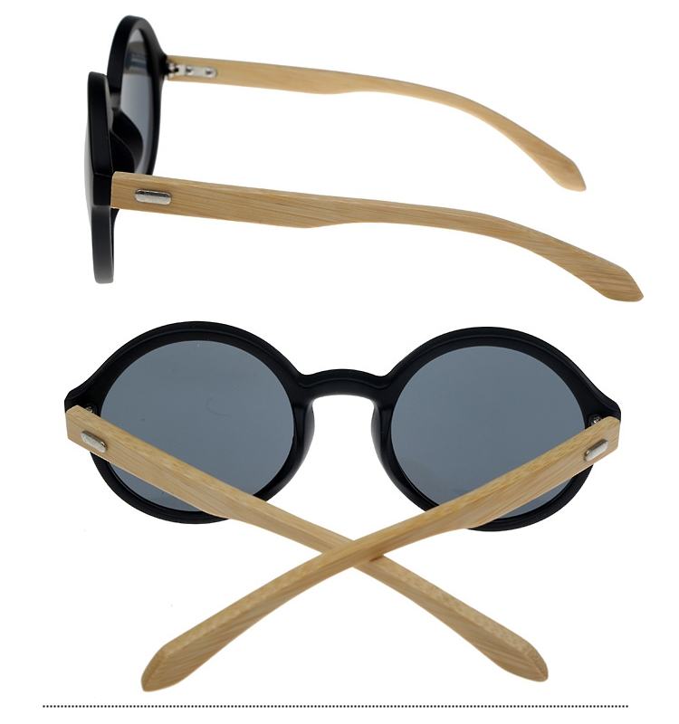 Oversize round sunglasses in black with handmade bamboo arms. Robust quality - sunlooper.co.uk - billede 2