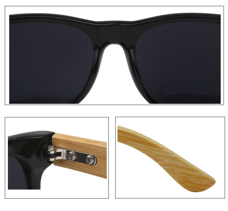Black wayfarer sunglasses with handmade bamboo arms.  - sunlooper.co.uk - billede 2