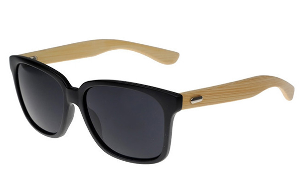 Black wayfarer sunglasses with handmade bamboo arms. Robust unisex design