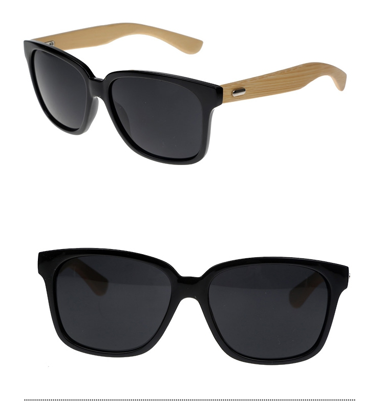 Black wayfarer sunglasses with handmade bamboo arms. Robust unisex design - sunlooper.co.uk - billede 3
