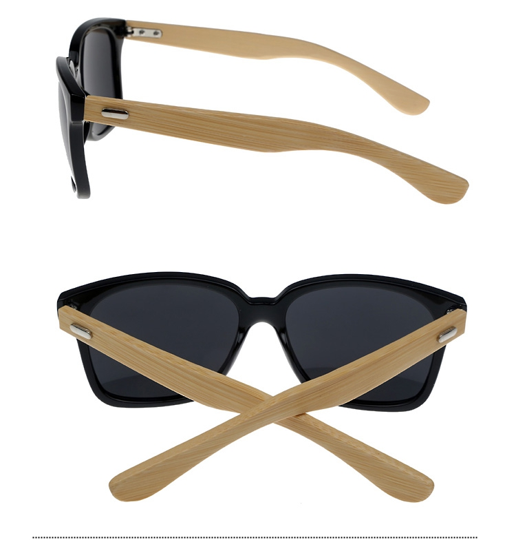 Black wayfarer sunglasses with handmade bamboo arms. Robust unisex design - sunlooper.co.uk - billede 2