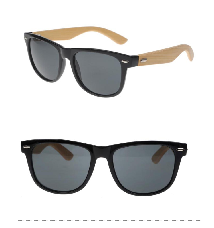 Black wayfarer sunglasses with handmade bamboo arms.  - sunlooper.co.uk - billede 3
