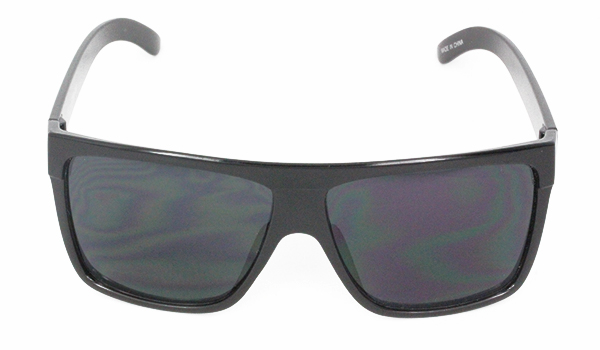 Black, simple sunglasses with raw look