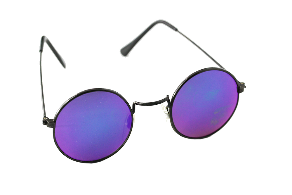 Round sunglasses with multicoloured lenses