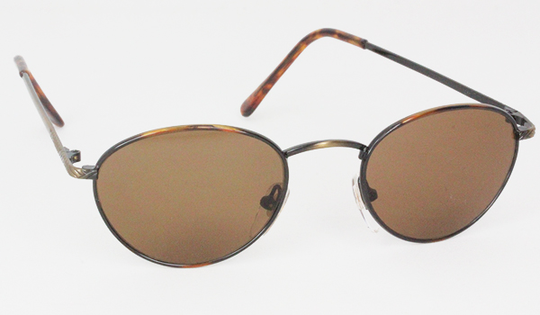 Oval metal sunglasses with brown frame