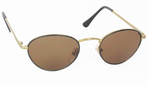 Oval metal sunglasses in black and gold