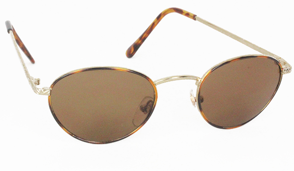 Oval fashion sunglasses with metal rods