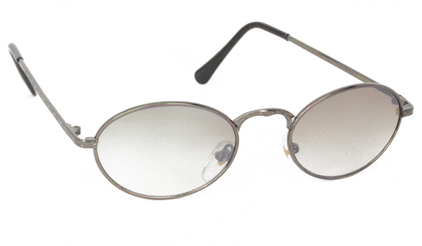 Oval metal sunglasses with light smokey lenses