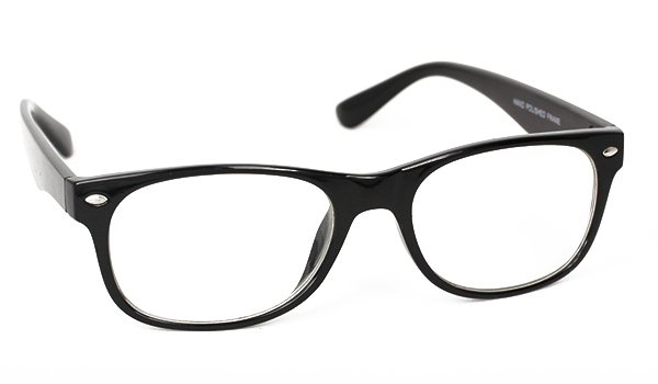 Standard black glasses (nonprescription)