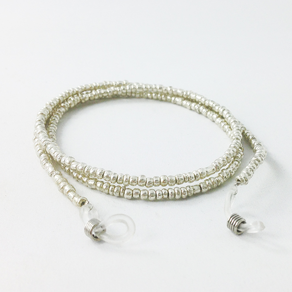 Glasses cord with silver pearls
