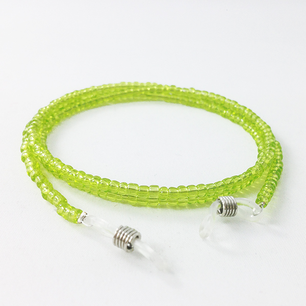 Glasses cord with lime green pearls