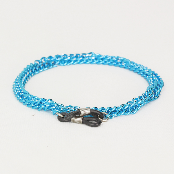 Blue glasses chain in metal