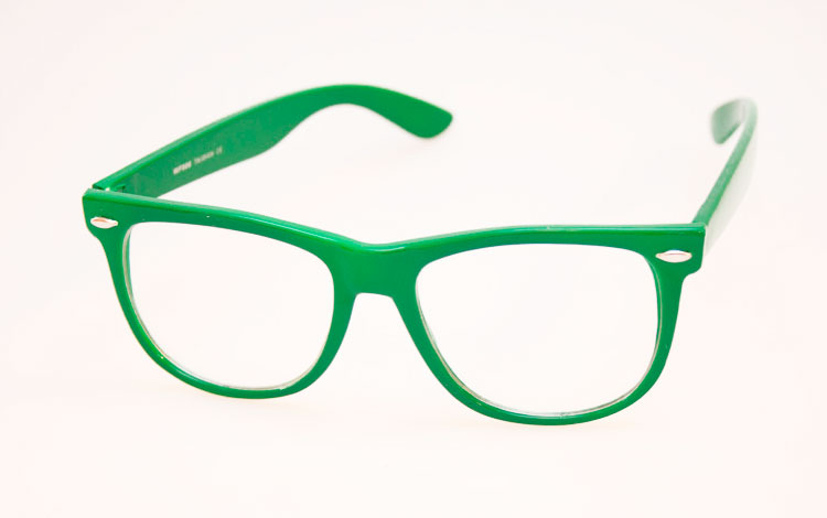 Green glasses with clear lenses