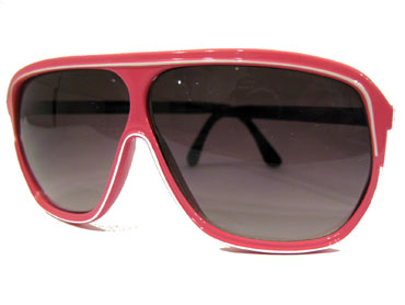 Pink sunglasses with white stripe