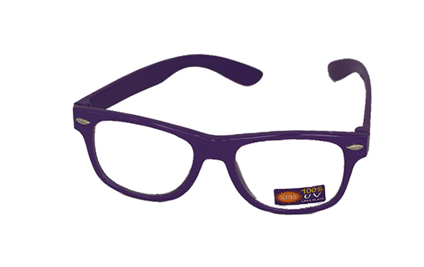 Non prescription child glasses, purple wayfarer