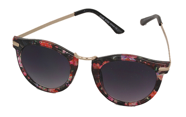 Round wayfarer sunglasses in lovely reddish flower design