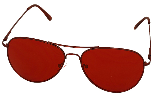 Aviator / metal pilot ssunglasses with red lenses
