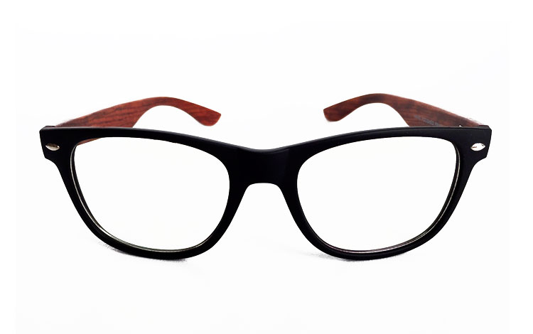 Glasses with black matte frame and bamboo arms (non-prescription)