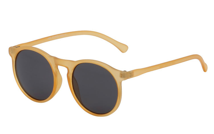 Bright yellow matte round sunglasses