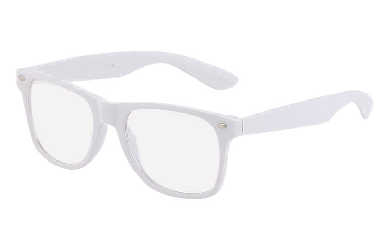 White glasses with clear lenses, wayfarer design