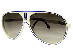 White millionaire sunglasses with blue stripe - Design nr. 1018