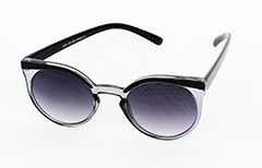 Round smokey-lensed sunglasses with black frames - Design nr. 1021