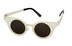 Lovely gold metal grid sunglasses in cateye design - Design nr. 1032